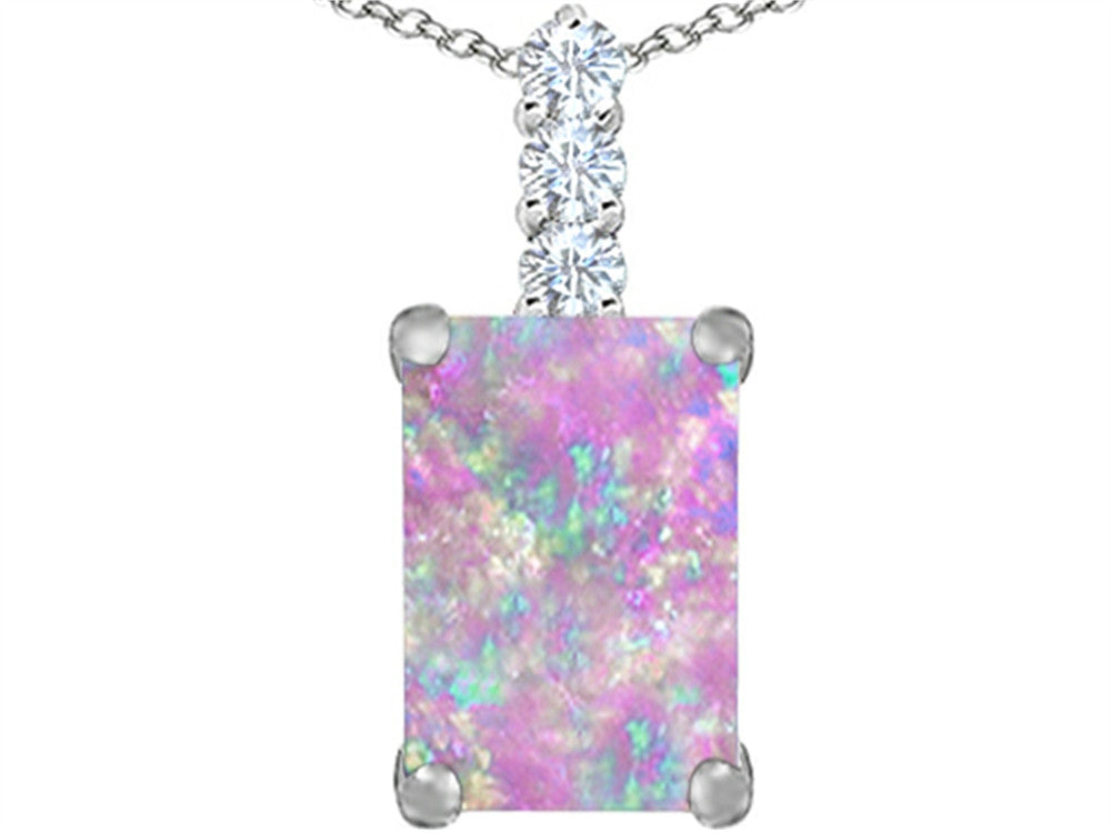 Star K Emerald Cut Pink Created Opal Pendant Necklace Sterling Silver