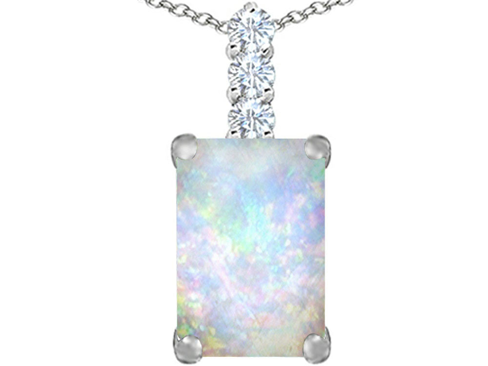 Star K Emerald Cut Created Opal Pendant Necklace Sterling Silver