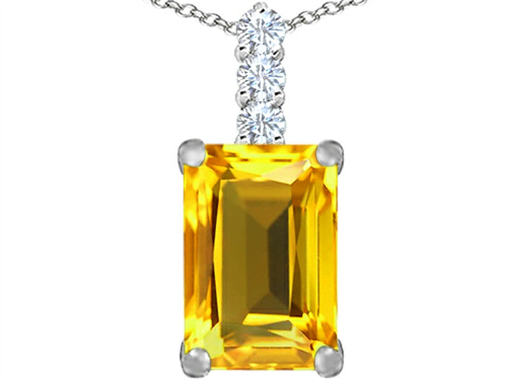 Star K Emerald Cut Simulated Citrine Pendant Necklace Sterling Silver