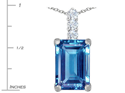Star K Emerald Cut Simulated Aquamarine Pendant Necklace Sterling Silver