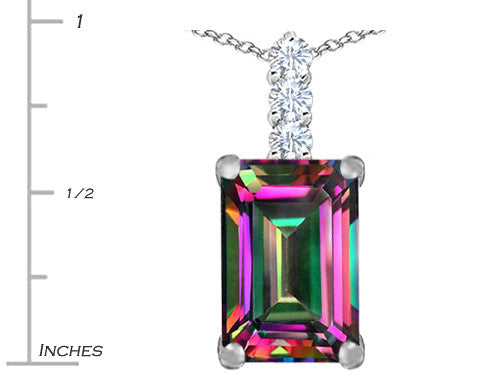 Star K Emerald Cut Rainbow Mystic Topaz Pendant Necklace Sterling Silver