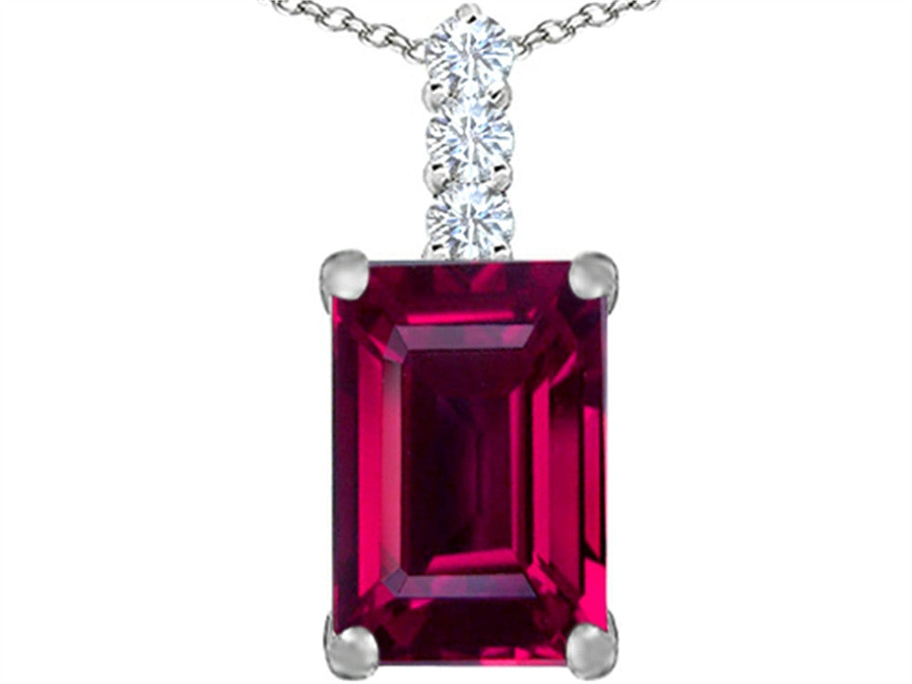 Star K Emerald Cut Created Ruby Pendant Necklace Sterling Silver
