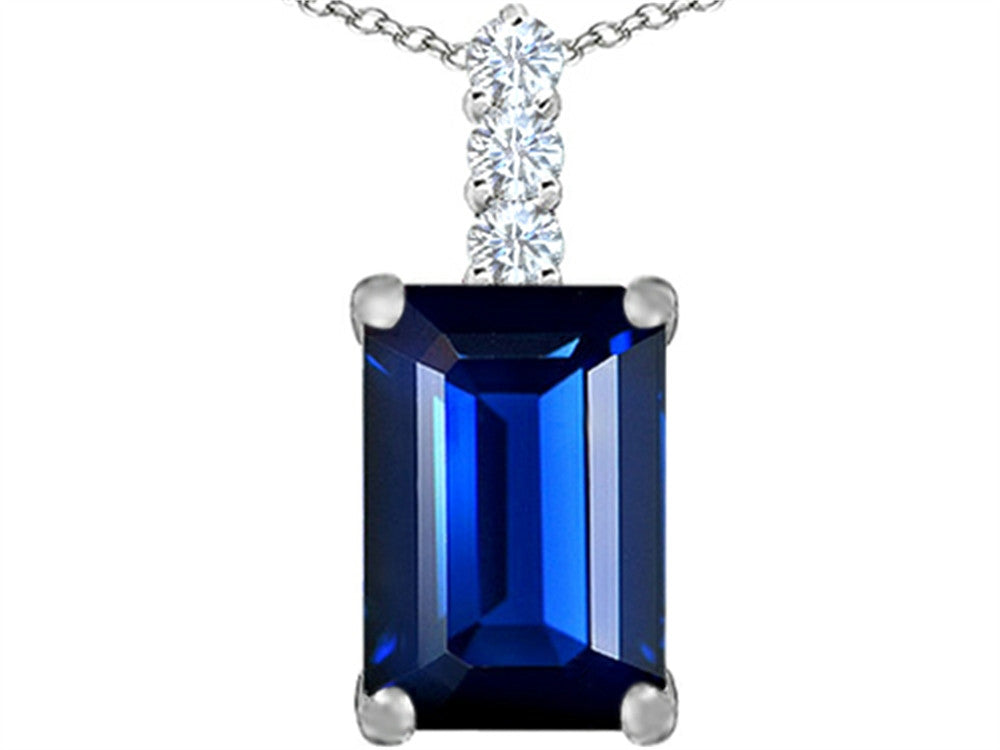 Star K Emerald Cut Simulated Sapphire Pendant Necklace Sterling Silver