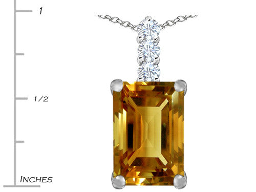 Star K Emerald Cut Simulated Imperial Yellow Topaz Pendant Necklace Sterling Silver