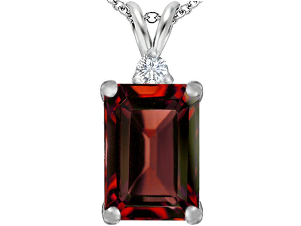 Star K Emerald Cut Simulated Garnet Pendant Necklace Sterling Silver