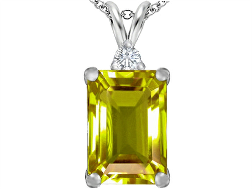 Star K Emerald Cut Simulated Peridot and Cubic Zirconia Pendant Necklace Sterling Silver