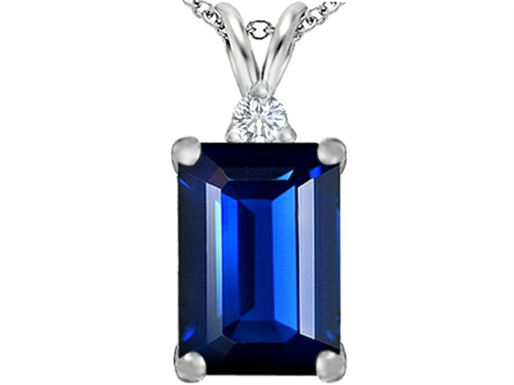 Star K Emerald Cut Created Sapphire Pendant Necklace Sterling Silver