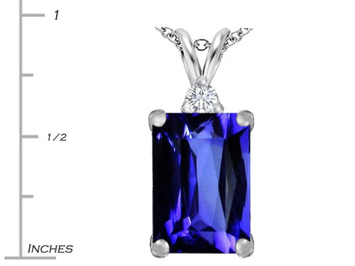 Star K Emerald Cut Simulated Tanzanite Pendant Necklace Sterling Silver