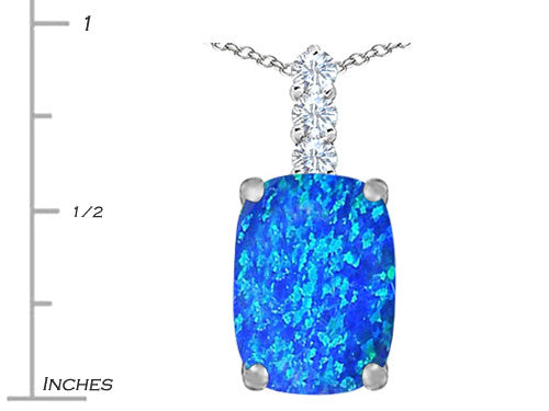 Star K Cushion-Cut Blue Created Opal Pendant Necklace Sterling Silver