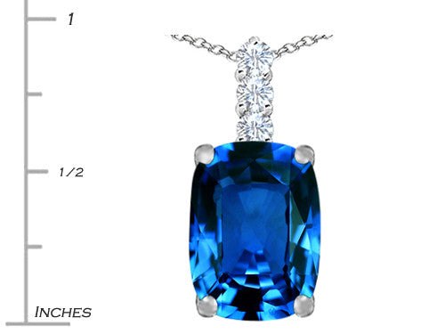 Star K Cushion-Cut Simulated Blue Topaz Pendant Necklace Sterling Silver