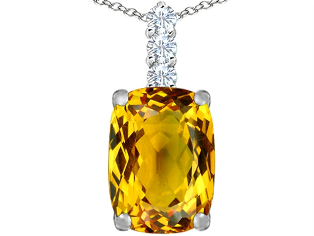 Star K Cushion Cut Simulated Citrine Pendant Necklace Sterling Silver