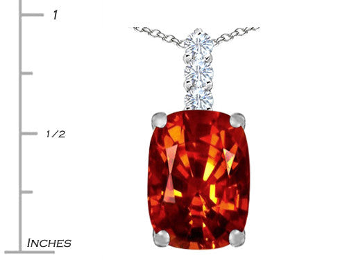 Star K Cushion-Cut Simulated Orange Mexican Fire Opal Pendant Necklace Sterling Silver