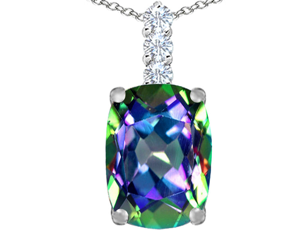 Star K Cushion-Cut Rainbow Mystic Topaz Pendant Necklace Sterling Silver