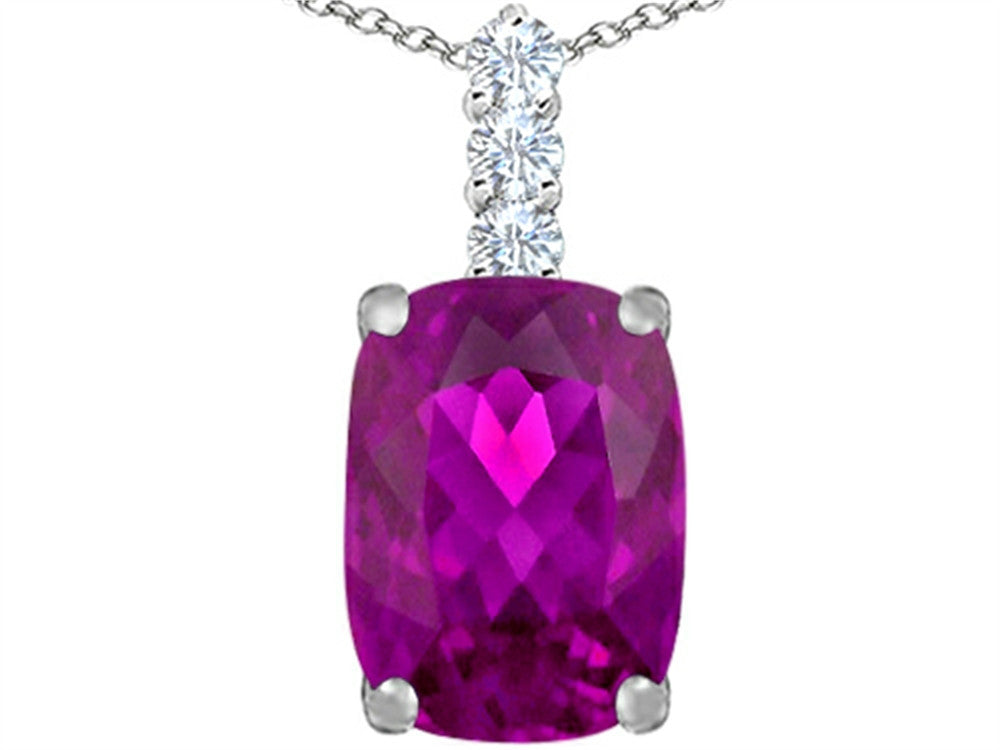 Star K Cushion-Cut Created Pink Sapphire Pendant Necklace Sterling Silver