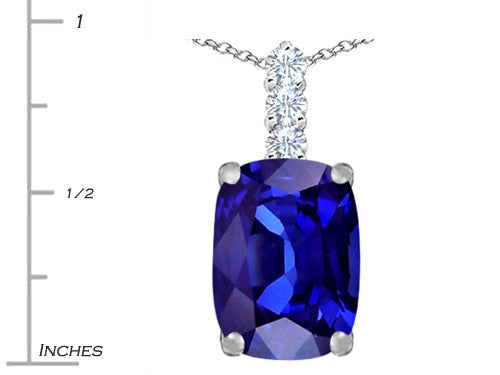 Star K Cushion Cut Simulated Tanzanite Pendant Necklace Sterling Silver