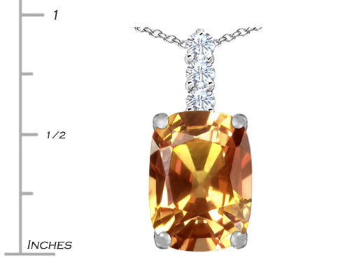 Star K Cushion-Cut Simulated Imperial Yellow Topaz Pendant Necklace Sterling Silver