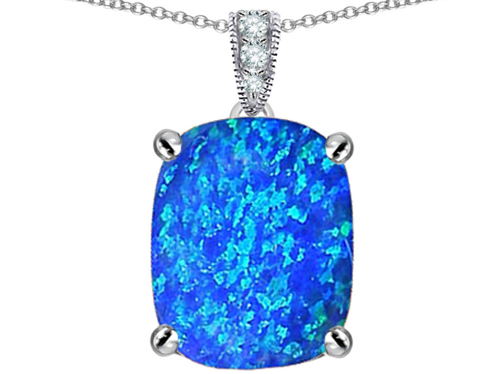 Star K 12x10mm Cushion-Cut Blue Created Opal Pendant Necklace Sterling Silver