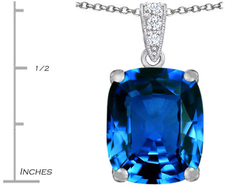 Star K 12x10mm Cushion-Cut Simulated Blue-Topaz Pendant Necklace Sterling Silver