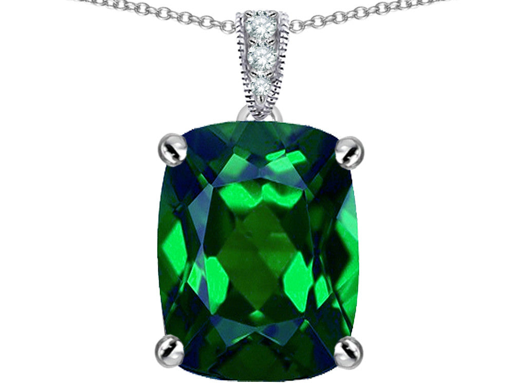 Star K 12x10mm Cushion-Cut Simulated Emerald Pendant Necklace Sterling Silver