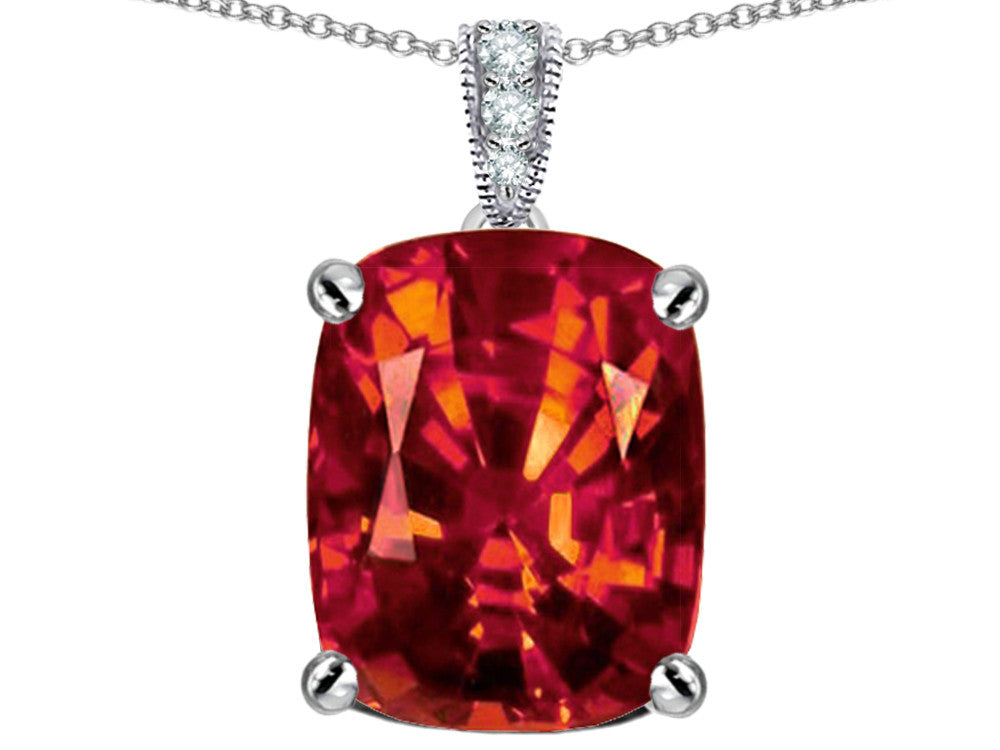 Star K 12x10mm Cushion-Cut Simulated Orange Mexican Fire Opal Pendant Necklace Sterling Silver
