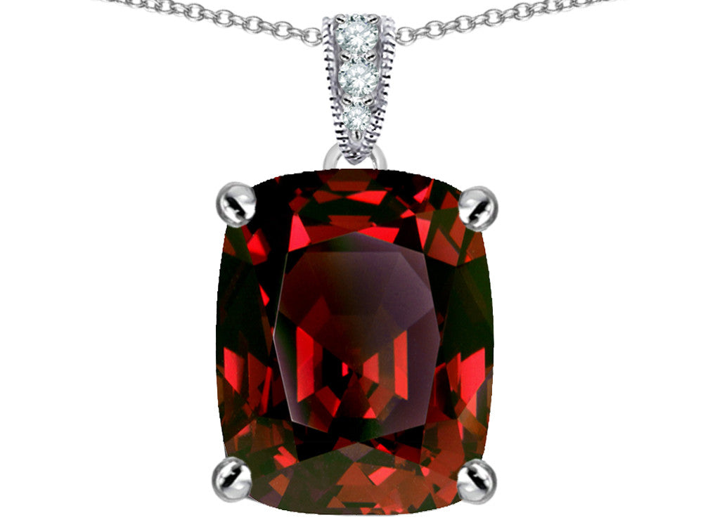 Star K 12x10mm Cushion-Cut Simulated Garnet Pendant Necklace Sterling Silver