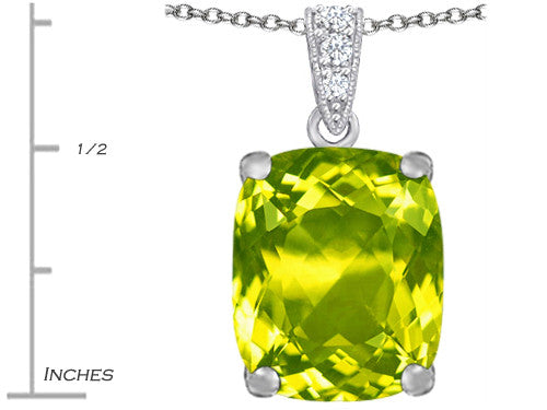 Star K 12x10mm Cushion-Cut Simulated Peridot and Cubic Zirconia Pendant Necklace Sterling Silver