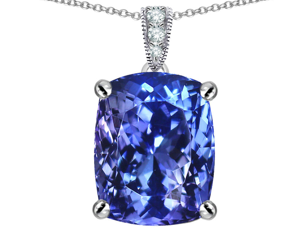 Star K 12x10mm Cushion-Cut Simulated Tanzanite Pendant Necklace Sterling Silver