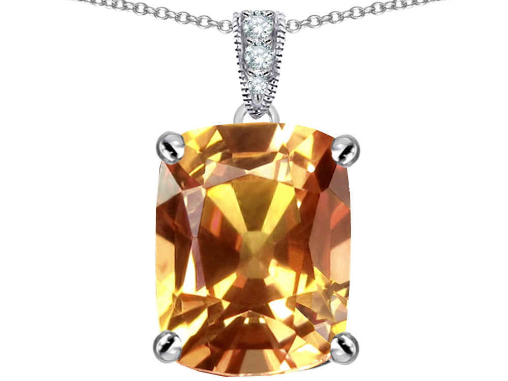 Star K 12x10mm Cushion-Cut Simulated Imperial Yellow Topaz Pendant Necklace Sterling Silver