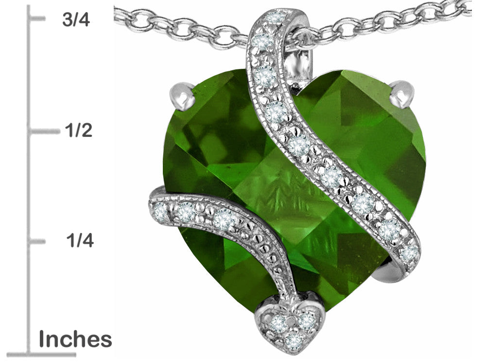 Star K 15mm Heart-Shape Simulated Green Tourmaline Love Pendant Necklace Sterling Silver