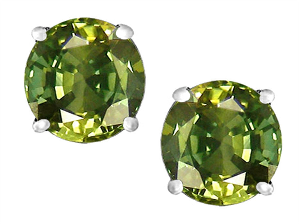 Star K Round 7mm Simulated Green Tourmaline Earrings Studs Sterling Silver