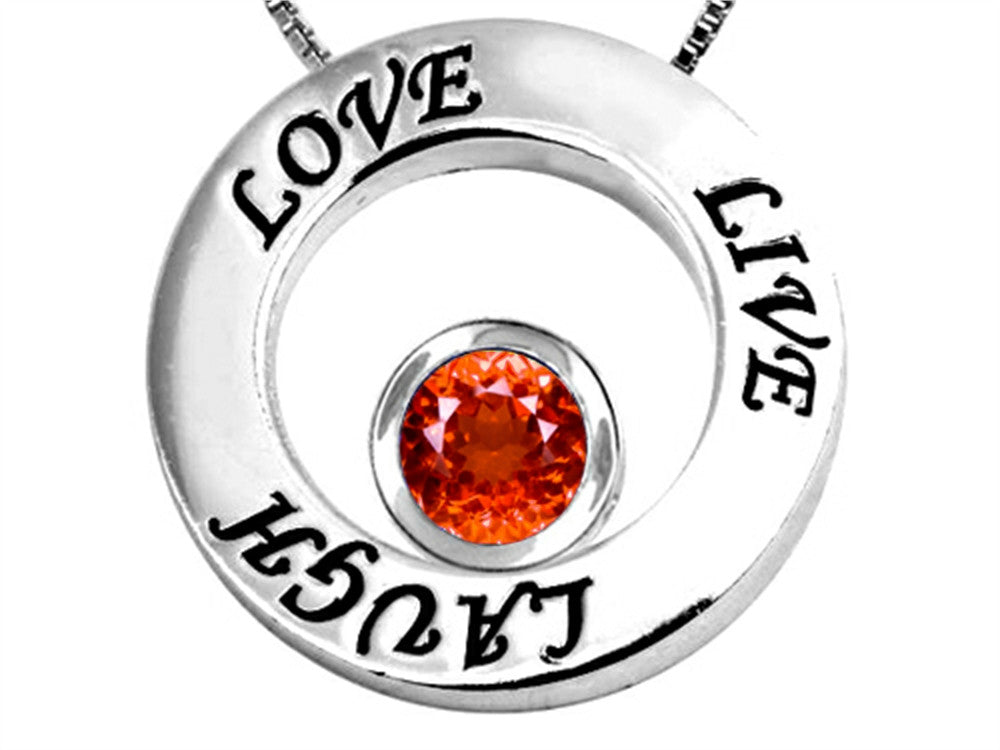 Star K Live/Love/Laugh Circle of Life Pendant Necklace with Round 7mm Simulated Orange Mexican Fire Opal Sterling Silver