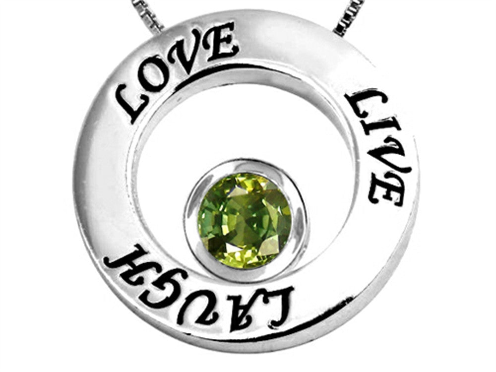 Star K Live/Love/Laugh Circle of Life Pendant Necklace with Round 7mm Simulated Green Tourmaline Sterling Silver