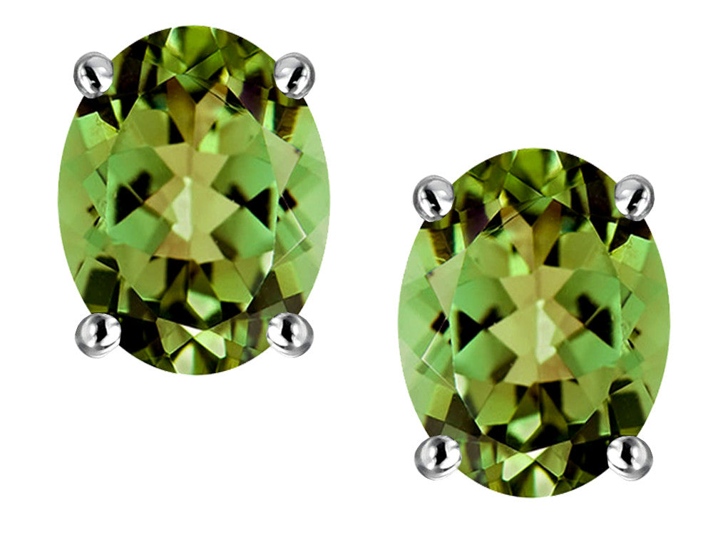 Star K Oval 8x6mm Simulated Green Tourmaline Earrings Studs Sterling Silver