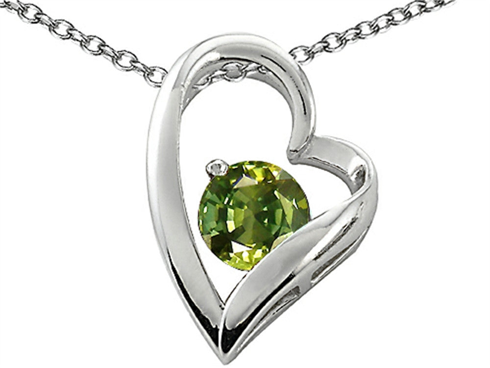 Star K 7mm Round Simulated Green Tourmaline Heart Pendant Necklace Sterling Silver