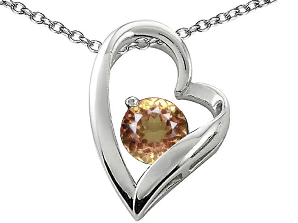 Star K 7mm Round Simulated Imperial Yellow Topaz Heart Pendant Necklace Sterling Silver