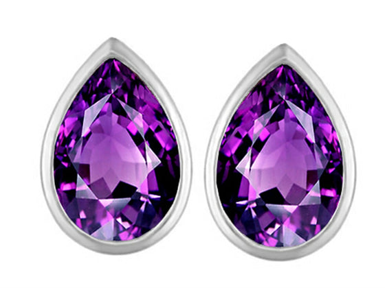 Star K 9x6mm Pear Shape Simulated Amethyst Earrings Studs Sterling Silver