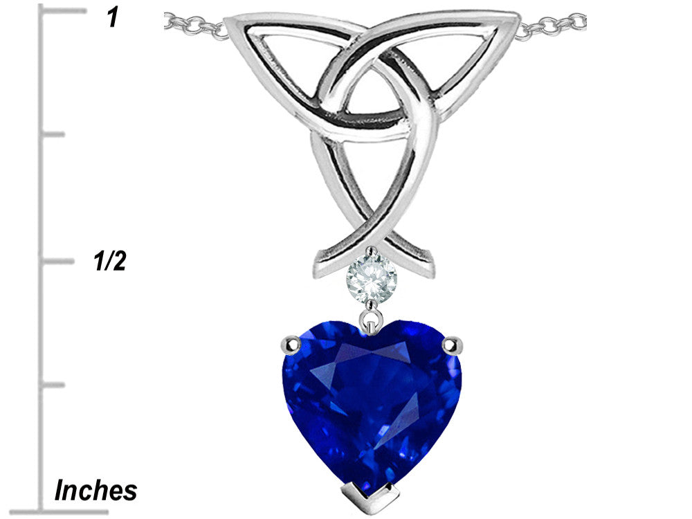 Star K Love Knot Pendant Necklace with 8mm Heart-Shape Simulated Tanzanite Sterling Silver