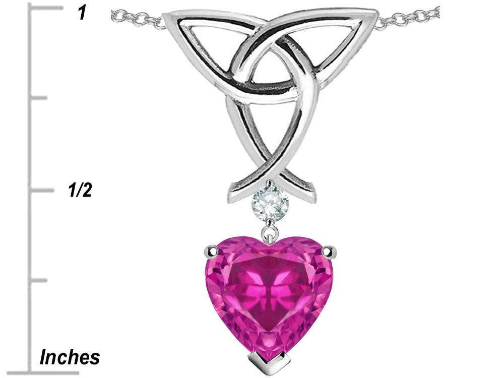 Star K Love Knot Pendant Necklace with 8mm Heart-Shape Simulated Pink Tourmaline Sterling Silver