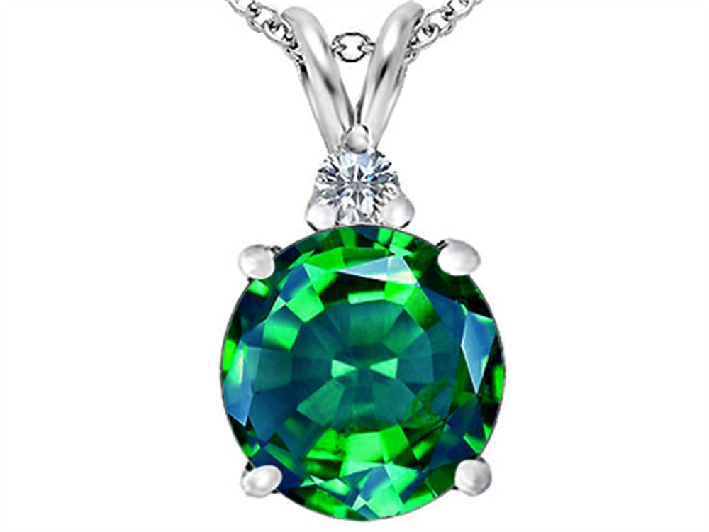Star K 12mm Round Simulated Emerald Pendant Necklace Sterling Silver