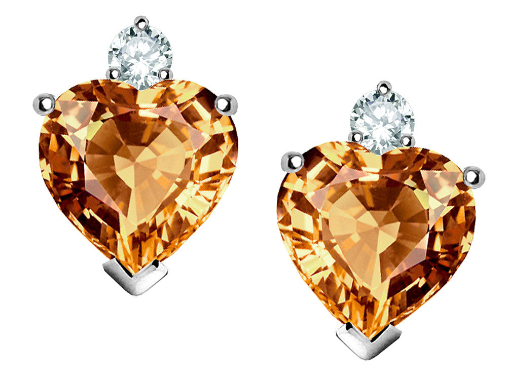 Star K 7mm Heart-Shape Simulated Imperial Yellow Topaz Earrings Sterling Silver