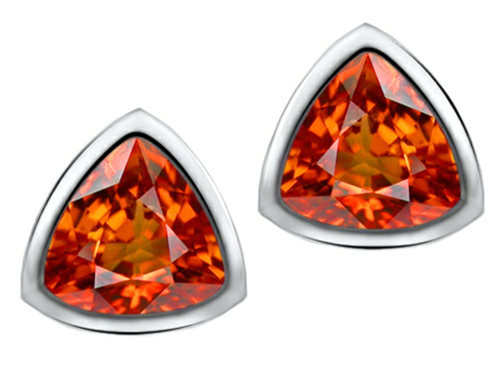 Star K 7mm Trillion Cut Simulated Orange Mexican Fire Opal Earrings Studs Sterling Silver