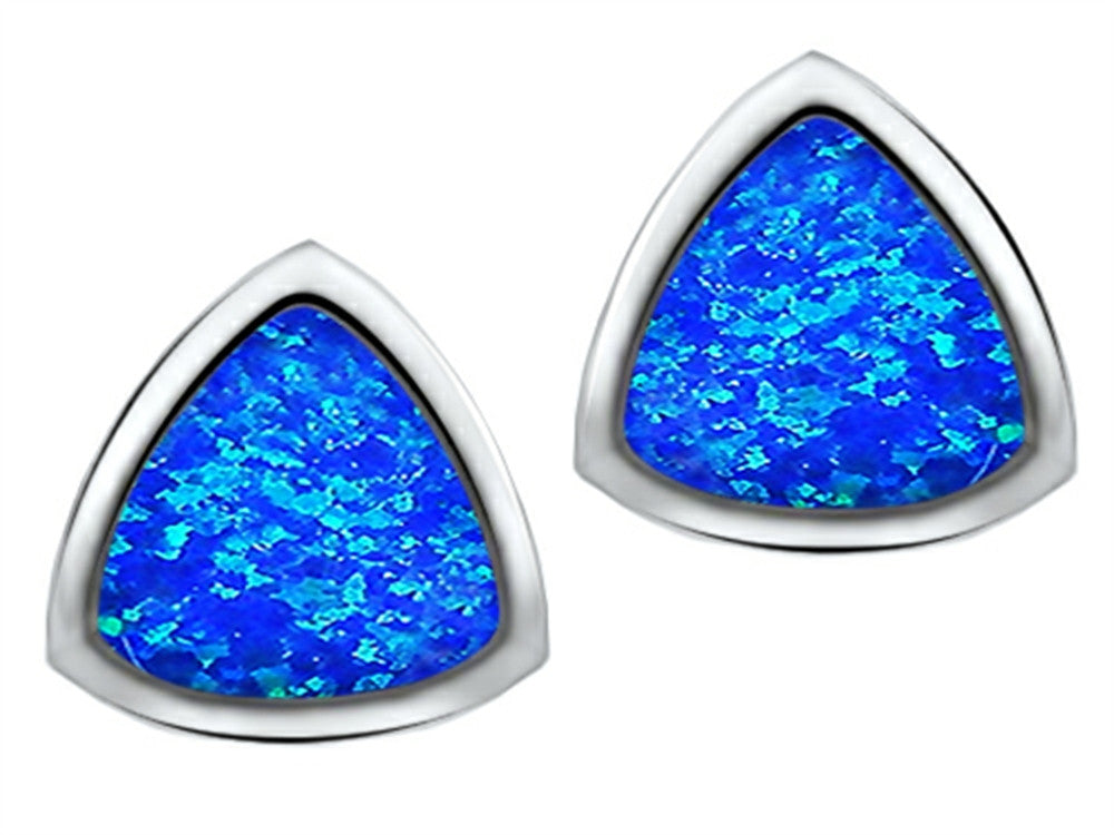 Star K 7mm Trillion Cut Blue Created Opal Earrings Studs Sterling Silver