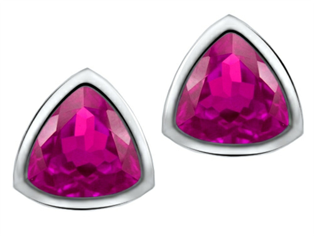 Star K 7mm Trillion Cut Created Pink Sapphire Earrings Studs Sterling Silver