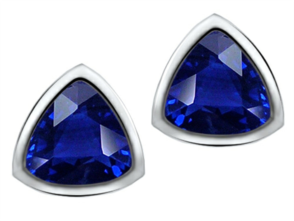 Star K 7mm Trillion Cut Created Sapphire Earrings Studs Sterling Silver