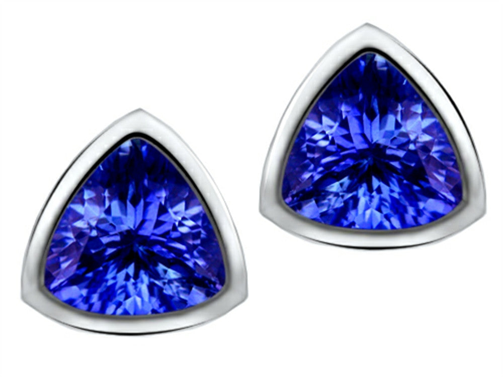 Star K 7mm Trillion Cut Simulated Tanzanite Earrings Studs Sterling Silver