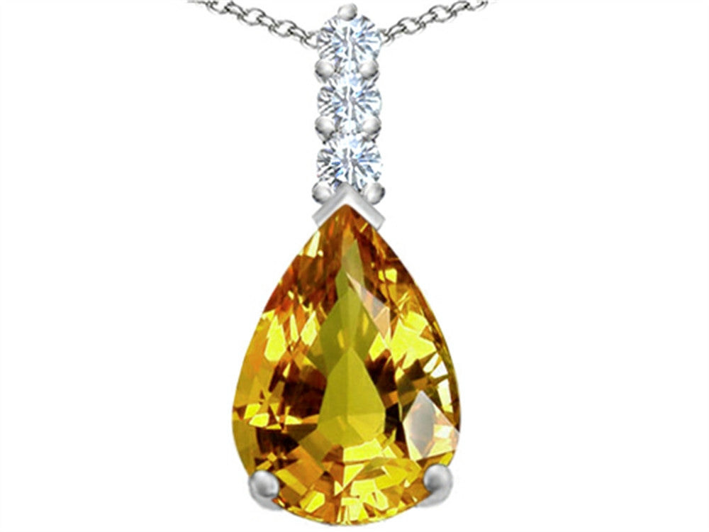 Star K Pear Shape Simulated Citrine Pendant Necklace Sterling Silver
