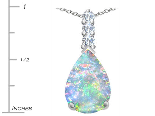 Star K Pear Shape Created Opal Pendant Necklace Sterling Silver