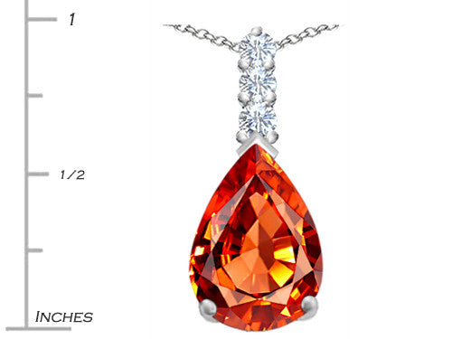 Star K Pear Shape Simulated Orange Mexican Fire Opal Pendant Necklace Sterling Silver