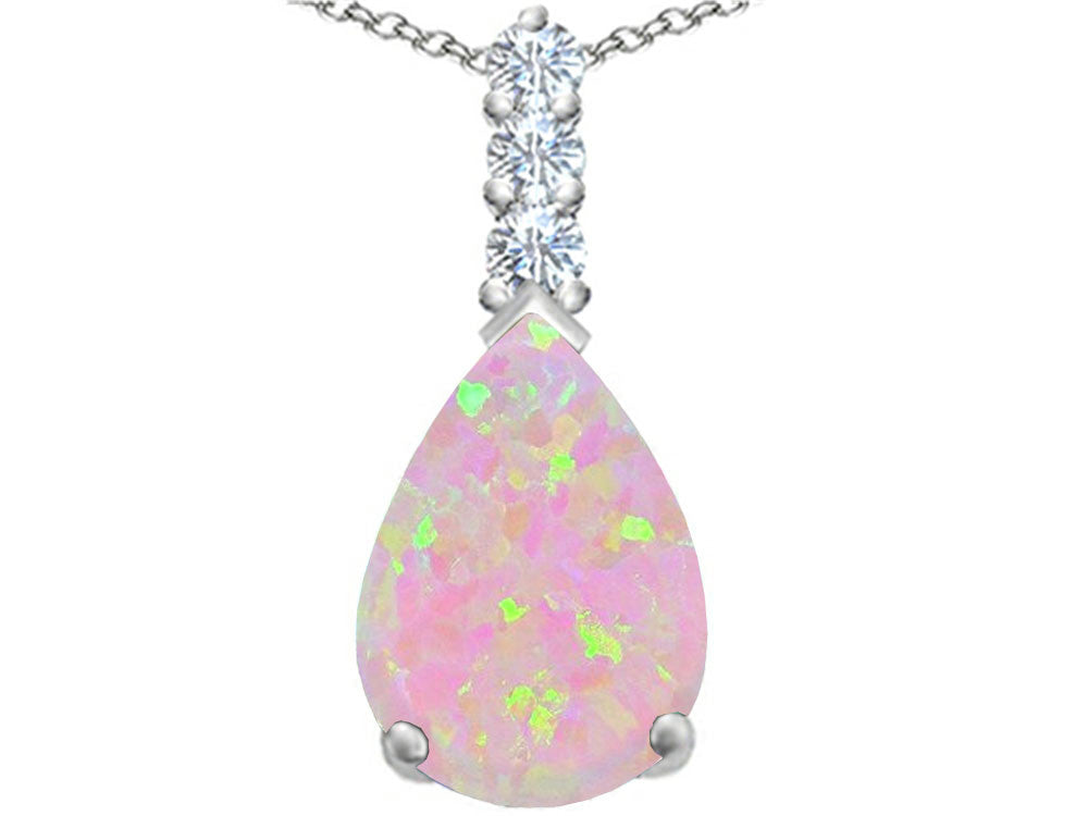 Star K Pear Shape Pink Created Opal Pendant Necklace Sterling Silver