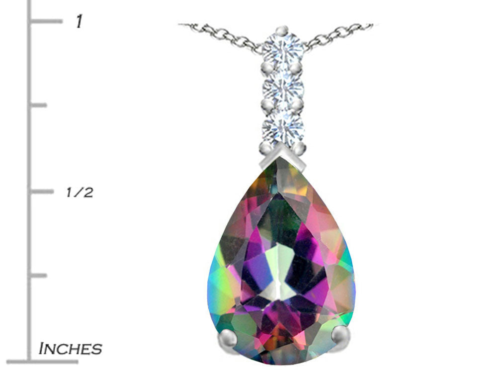 Star K Pear Shape Rainbow Mystic Topaz Pendant Necklace Sterling Silver